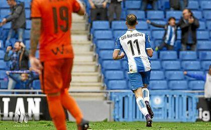 Leo Baptistao celebra su gol ante el Eibar.
