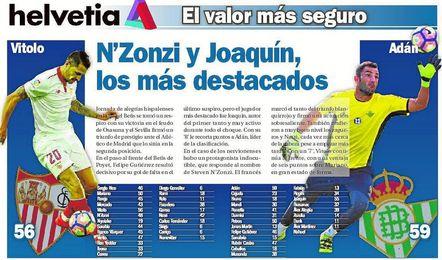 N'Zonzi y Joaquín, los más destacados