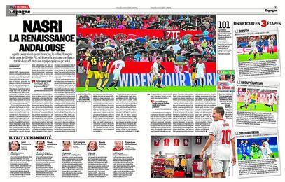 Captura del PDF que recoge las dos páginas dedicadas a Nasri en el diario L´Equipe.