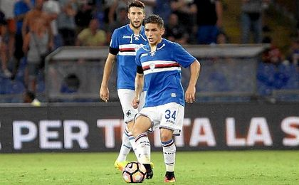 Lucas Torreira, durante un partido con la elástica de la Sampdoria.