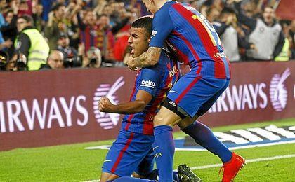 Rafinha celebra el tanto que le dio la victoria al Barça.