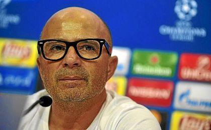 Jorge Sampaoli, durante una rueda de prensa de Champions.