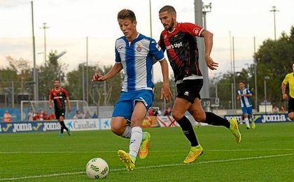 Gual, durante un partido con el Espanyol B.