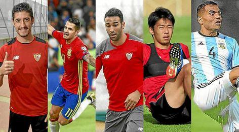 Vitolo, Escudero, Rami, Kiyotake y Mercado.