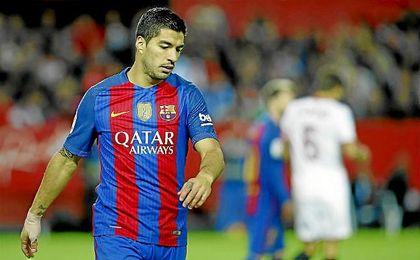Luis Suárez, en el partido ante el Sevilla el pasado domingo.