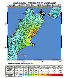 Mapa de la zona afectada por el terremoto distribuido por el Servicio geológico de los Estados Unidos.