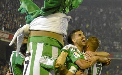 Dani Ceballos celebra efusivamente uno de los goles anotados ante Las Palmas