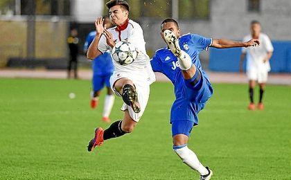Lance del partido entre el Sevilla y la Juventus.