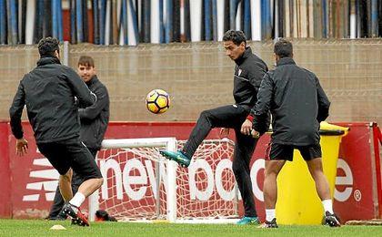 Ganso, en el entrenamiento de hoy del Sevilla.