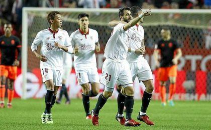 Ante el Valencia, Pareja fue el más destacado en la línea de tres centrales.