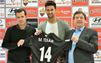 Marcos Tébar en su presentación como nuevo jugador del Reus.