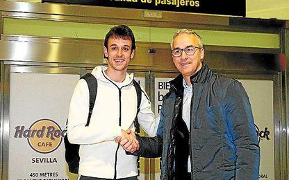 Pardo, a su llegada a Sevilla.