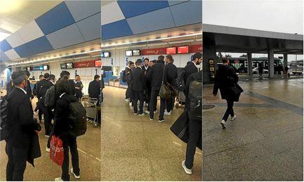 Varias imágenes de la plantilla verdiblanca en el aeropuerto de A Coruñ antes de regresar.