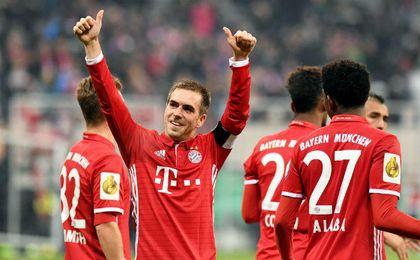 Lahm cumplió el pasado sábado 500 partidos con la camiseta del equipo bávaro. EFE.