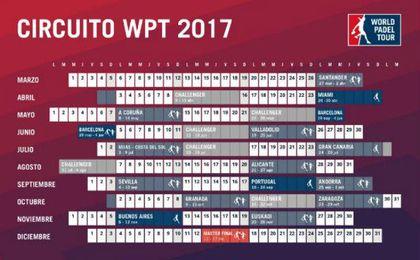 Calendario oficial del World Padel Tour 2017. WPT.