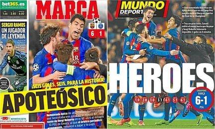La prensa española califica de histórica la remontada del Barcelona.