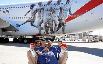 Cristiano, Bale, Ramos, Marcelo y Benzema, imagen del nuevo avión madridista
