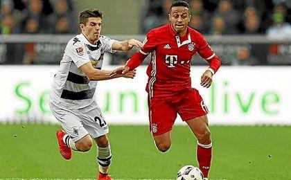 Thiago Alcántara dio a Müller el paso del gol y del triunfo del Bayern.