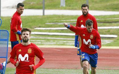 Entrenamiento de la selección española preparatoria frente a Israel.