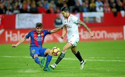 Vitolo, en el partido de Liga ante el Barcelona, donde marcó el gol sevillista.