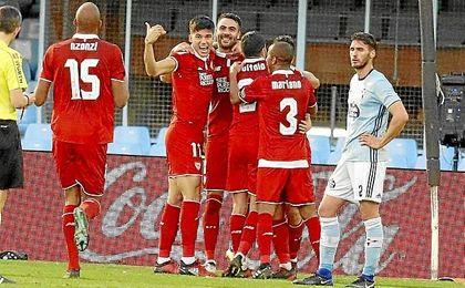 En el partido de Balaídos, el Sevilla venció por 0-3.