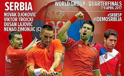 Djokovic liderará a Serbia en el duelo ante una España sin Nadal.