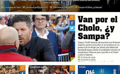 Olé informa del interés de la AFA por fichar a Simeone y Sampaoli.Firma de la foto