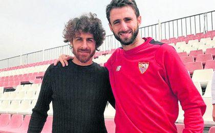 Aimar, junto a Nico Pareja, en su visita reciente a Sevilla.