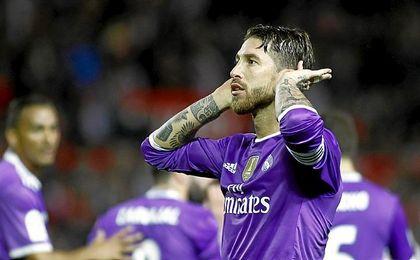Sergio Ramos celebró así su tanto ante Gol Norte en el partido de Copa.