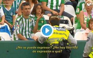 La seguridad del Betis prohíbe una pancarta contra Víctor