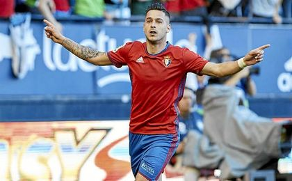 Sergio León celebra uno de los diez goles anotados esta temporada