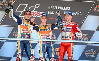 Márquez, Pedrosa y Lorenzo han copado el podio de MotoGP.