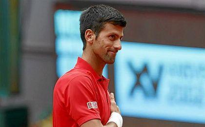 Djokovic antes del partido contra Almagro.