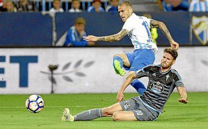Sandro Ramírez, en el partido del Málaga contra el Celta de Vigo.