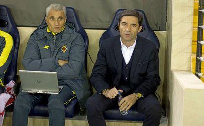 Marcelino, junto a su segundo, durante su etapa en Villarreal.