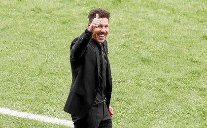 Simeone, durante el partido de hoy ante el Athletic.