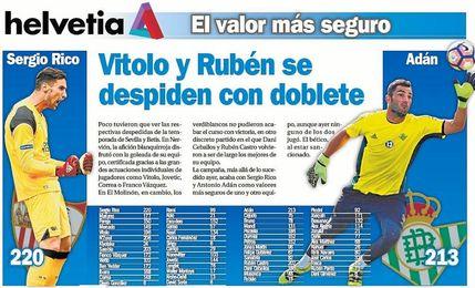 Vitolo y Rubén se despiden con doblete