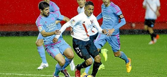 Boutobba, en el partido del Sevilla Atlético ante el Mirandés.