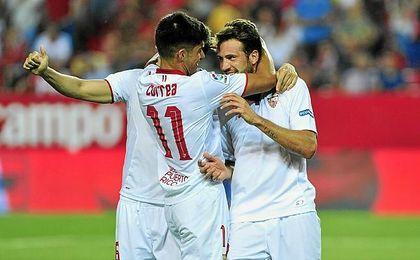 El ´Mudo´, entrenándose con el Sevilla.