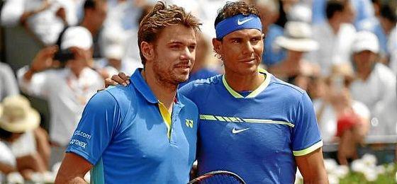 Wawrinka y Nadal, antes de comenzar la final.