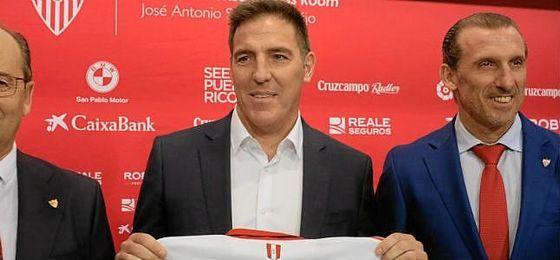 Berizzo, en su presentación con el Sevilla.