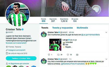 Cristian Tello tardó apenas unos minutos en vestirse con su nueva camiseta en su perfil oficial de Twitter y en mostrar su alegría por el fichaje.