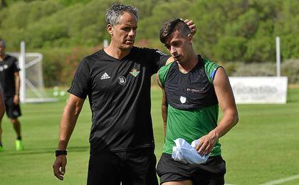 Sergio León, acompañado de Marcos Álvarez, en un entreno en Montecastillo.
