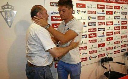 Meré, en su despedida hoy del Sporting.