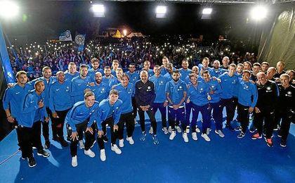 Jovetic, el primero por la izquierda, es uno más en el Inter.