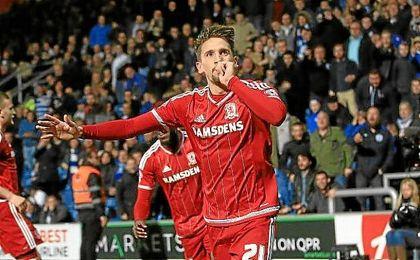 Gastón Ramírez celebra un gol con el Middlesbrough.