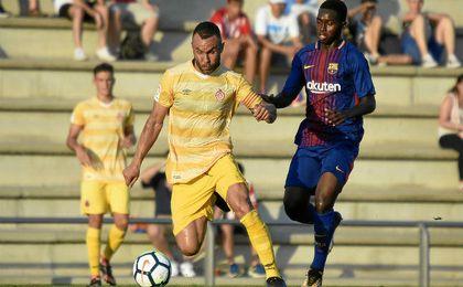 El Girona y el Barça B empatan a dos goles en un duelo de alternativas