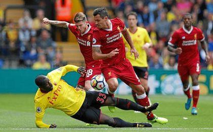 Alberto Moreno, en el partido contra el Watford de hoy.