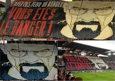 El espectacular tifo del Rennes a lo ´Breaking Bad´ ante el Lyon.