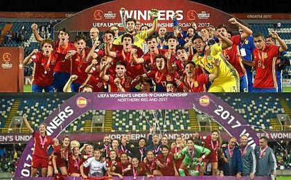 Las selecciones españolas sub-17 masculina y sub-19 femenina salieron victoriosas en los campeonatos europeos de este verano.